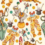 Circus Doodle Sketch Color Seamless Pattern