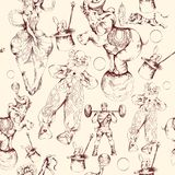 Circus doodle sketch seamless pattern Royalty Free Stock Photography