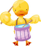 Circus duck play drum vector Stock Photography