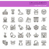 Circus Elements. Thin Line and Pixel Perfect Icons Stock Photos