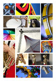 Circus elements. Various circus images and shows on a collage Royalty Free Stock Images