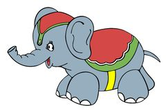 Circus Elephant. Vectorized drawing of a circus Elephant. Cute and pretty for you child Royalty Free Stock Photography