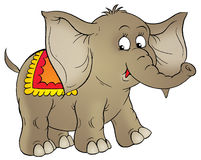 Circus elephant. Isolated clip-art and children's illustration for yours design, postcard, album, cover, scrapbook, etc Royalty Free Stock Photography