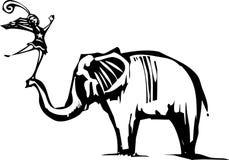 Circus elephant and Acrobat Royalty Free Stock Photos