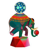 Circus elephant with balls Stock Photos