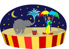 Circus elephant clown. Funny circus scene with an elephant and a clown stock illustration