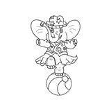 Circus Elephant kids coloring page Royalty Free Stock Photography