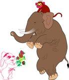 Circus Elephant and Monkey Stock Image