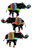 Circus elephants. Ornamented elephants in the ethnic style of performing their circus performance Royalty Free Stock Images