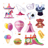 Circus entertainment icons set. Flat style design. Vector illustration. Stock Photo