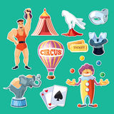 Circus entertainment icons set. Flat style design. Vector illustration. Stock Photography