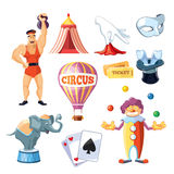 Circus entertainment icons set. Flat style design. Vector illustration. Royalty Free Stock Images