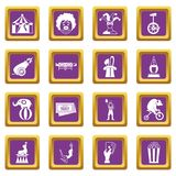 Circus entertainment icons set purple Stock Images