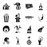 Circus entertainment icons set, simple style Royalty Free Stock Images
