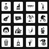 Circus entertainment icons set squares vector Stock Images
