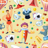 Circus entertainment seamless pattern. Flat style design. Vector illustration. Royalty Free Stock Photography