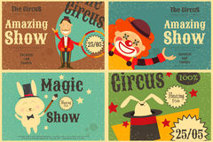 Circus. Entertainment Set Poster in Vintage Style. Cartoon Style.  Animals and Characters. Vector Illustration Stock Photography