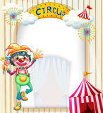 A circus entrance with a clown. Illustration of a circus entrance with a clown Stock Images