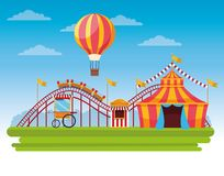 Circus fair festival scenery cartoon. Circus fair festival scenery with roller coaster hot air balloons with tents cartoon vector illustration graphic design vector illustration