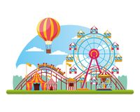Circus fair festival scenery cartoon. Circus fair festival scenery with roller coaster hot air balloons with tents cartoon vector illustration graphic design royalty free illustration