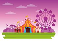 Circus fair festival scenery cartoon. Circus fair festival scenery with tents and big wheel cartoon vector illustration graphic design royalty free illustration