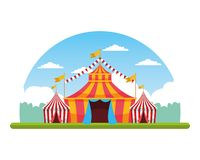 Circus fair festival scenery cartoon. Circus fair festival tents and pennants scenery cartoon vector illustration graphic design vector illustration
