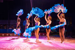 Circus Fan Dancers Royalty Free Stock Images