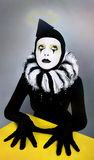 Circus Fashion Mime Posing Near A Yellow Square Stock Images