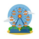 Circus ferris wheel icon. Cartoon illustration of circus ferris wheel. Vector isolated retro show flat icon for web.  Royalty Free Stock Images