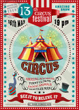 Circus Festival Announcement Retro Poster royalty free illustration