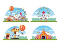 Circus festival fair set of scenery. Circus festival fair scenery set of carrousel tents and big wheels vector illustration graphic design vector illustration