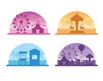 Circus festival fair silhouette scenery. Set of carrousel tents and big wheels vector illustration graphic design royalty free illustration