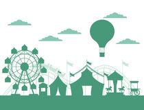 Circus festival fair silhouette scenery. With tents hot air balloons and big wheel vector illustration graphic design royalty free illustration