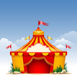 Circus. Festive background with striped tent of vagrant circus and flags. Vector illustration Royalty Free Stock Photo