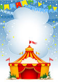 Circus. Festive background with striped tent of vagrant circus and flags. Vector illustration Royalty Free Stock Image