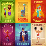 Circus 6 flat banners composition poster Royalty Free Stock Photos