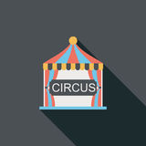 Circus flat icon with long shadow. Cartoon vector illustration vector illustration