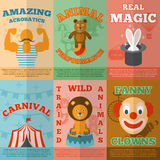 Circus flat icons composition poster Royalty Free Stock Images