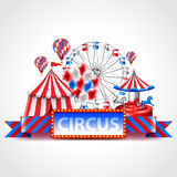Circus fun fair carnival vector background. Circus fun fair and carnival photo realistic vector background Stock Images