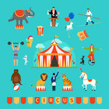 Circus and fun fair elements. In modern flat style Stock Image