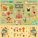 Circus. Funfair and Carnival Poster in Vintage Style. Cartoon Style.  Animals and Characters. Vector Illustration Royalty Free Stock Image