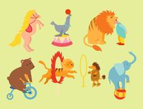 Circus funny animals set of vector icons cheerful zoo entertainment. Collection. Juggler pets magician performer carnival illustration. Vintage acrobat Stock Photos
