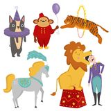 Circus funny animals vector cheerful zoo entertainment magician performer carnival illustration Royalty Free Stock Photography