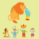 Circus funny animals set of vector icons cheerful zoo entertainment collection. Circus funny animals set of vector icons cheerful zoo entertainment collection Royalty Free Stock Images