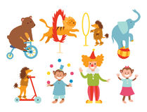 Circus funny animals set of vector icons cheerful zoo entertainment collection juggler pets magician performer carnival. Circus funny animals set of vector icons Stock Photos