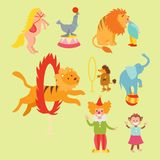 Circus funny animals set of vector icons cheerful zoo entertainment collection juggler pets magician performer carnival. Circus funny animals set of vector icons Stock Photo