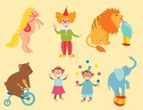 Circus funny animals set of vector icons cheerful zoo entertainment collection juggler pets magician performer carnival. Circus funny animals set of vector icons Stock Photography