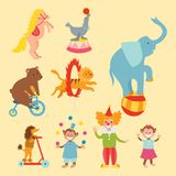 Circus funny animals set of vector icons cheerful zoo entertainment collection juggler pets magician performer carnival. Circus funny animals set of vector icons Stock Images