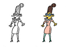Circus girl with glasses. Funny circus girl with glasses illustration contour Stock Photos
