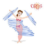 A circus girl spinning hulahoops Royalty Free Stock Images